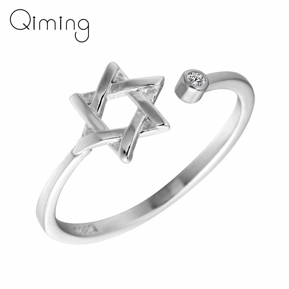 Серебряная Звезда Круглый Циркон гексаграмма кольца геометрический открытый кольцо для женщин девушки вечерние Рождественский подарок ювелирные изделия в стиле минимализма