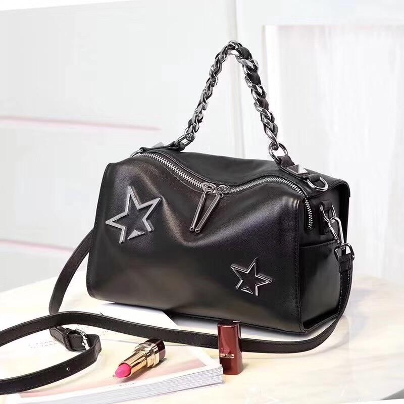 Big Chain Star Design Top-Handle Handbag 100% Genuine Cow Leather Women\'S Shoulder Crossbody Bag High Quality Travel Tote Bag