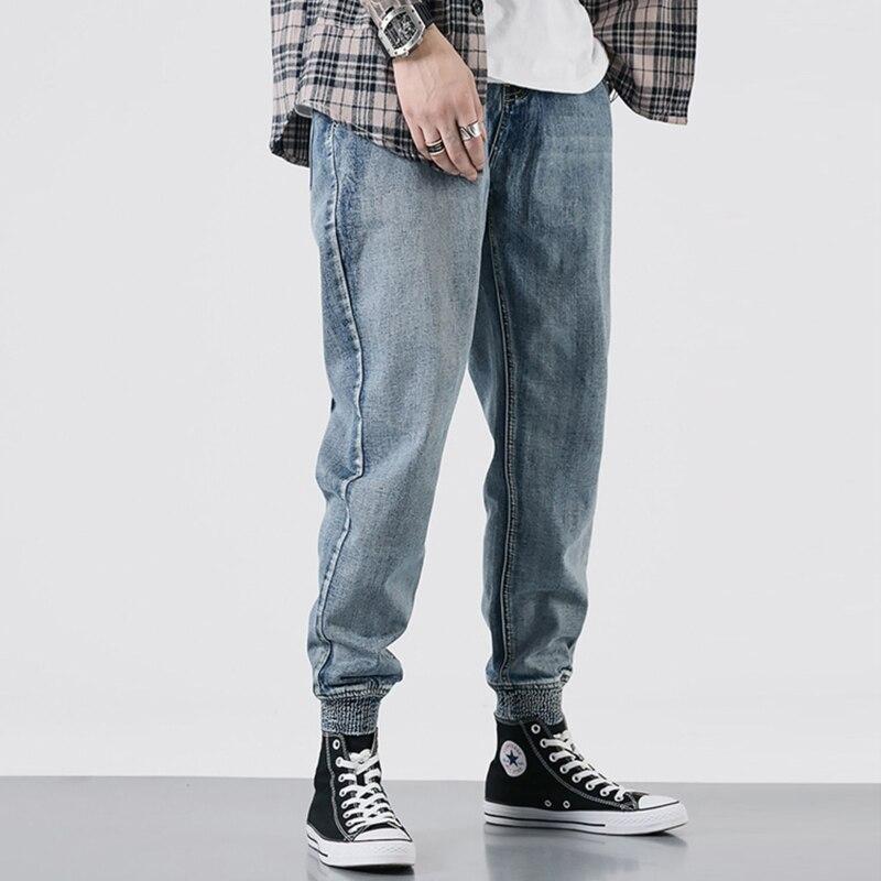 Japanese Style Fashion Men Jeans Retro Blue Loose Fit Spliced Cargo Pants Harem Jeans Men Streetwear Hip Hop Joggers Jeans Homme