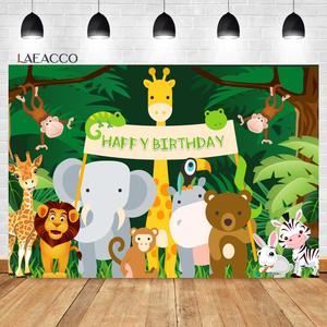 Image 5 - Laeacco Birthday Photozone Jungle Forest Animals Safari Party Photography Backdrops Baby Shower Backgrounds Newborn Photocall