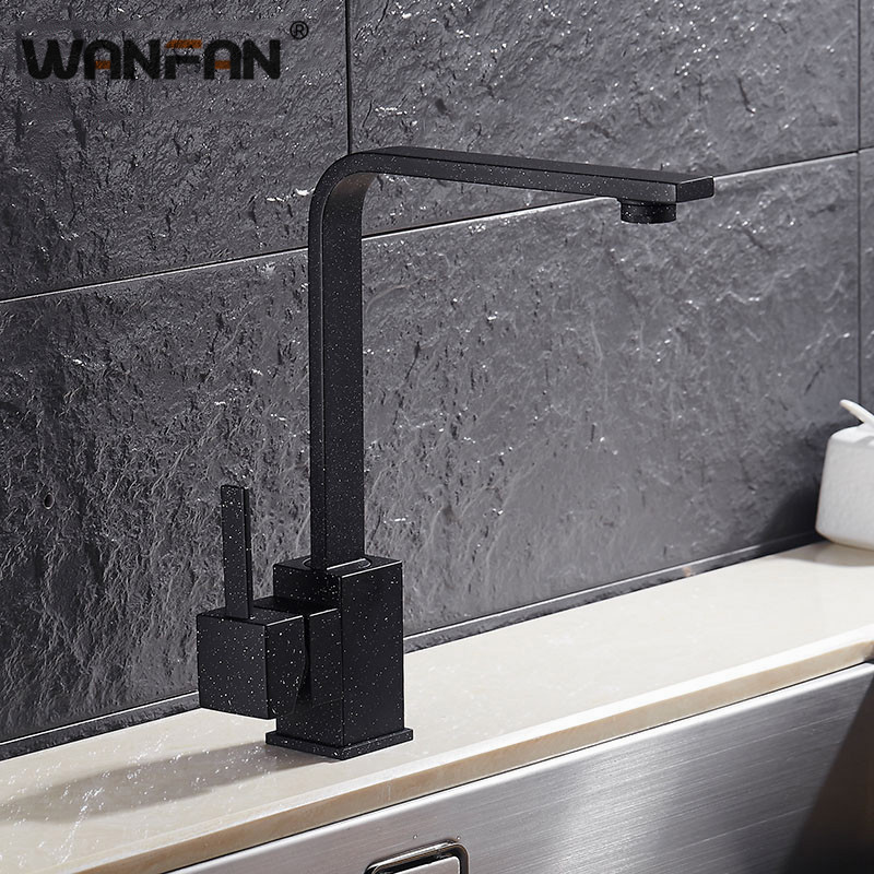 Kitchen Faucets Brass Kitchen Sink Water Faucet 360 Rotate Faucet Mixer Single Holder  Hole Balck With Dots Tap N22-025