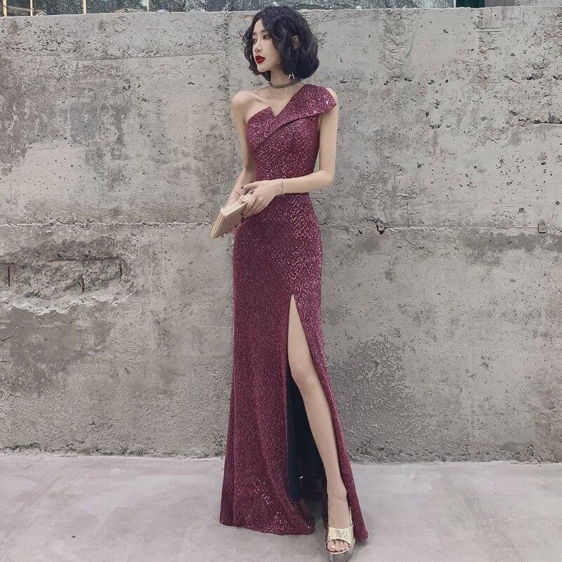 Shining Evening Dress Sequined One Shoulder Robe De Soiree K335 Mermaid Floor Length Women Party Gowns Sleeveless Formal Vestido