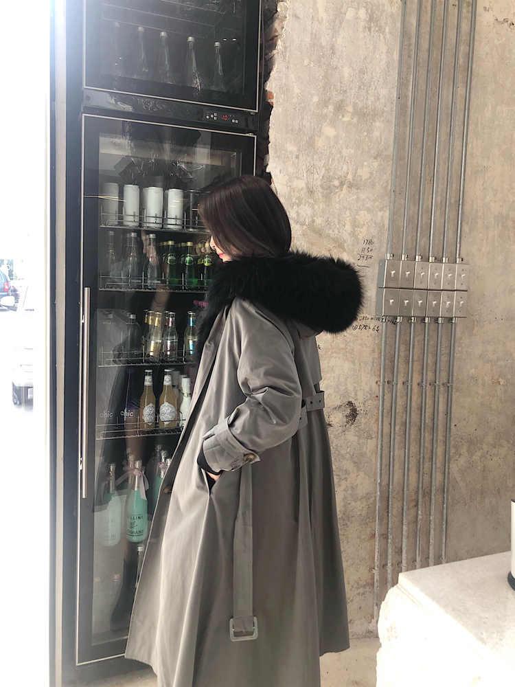 Abrigo Parka de piel de zorro Real de invierno abrigo grueso y cálido de piel de perro de mapache chaqueta con capucha ropa de mujer 2019 piel superior Hiver 001