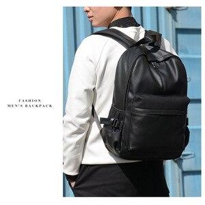 Image 2 - Yeni moda erkekler sırt çantası erkek sırt çantaları genç için lüks tasarımcı PU deri sırt çantaları erkek yüksek kaliteli seyahat sırt çantaları