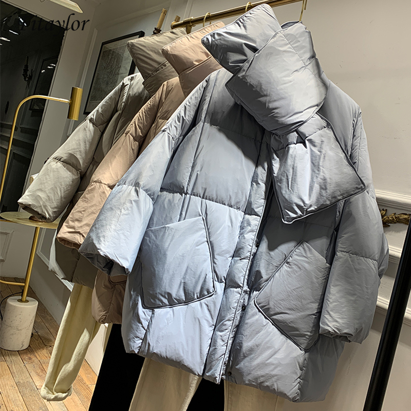 Fitaylor New With Scarf Duck Down Coat Winter Jacket Women Loose Warm Parkas Female  Medium Long Down Jacket