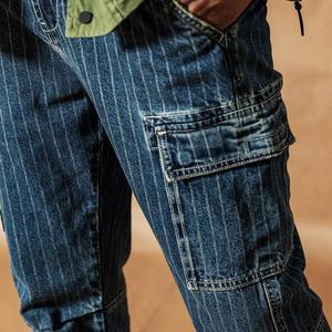 Image 5 - SIMWOOD Cargo jeans men vintage Paneled fashion hip hop vertical stripes streetwear washed 100% cotton ankle length pants 190405