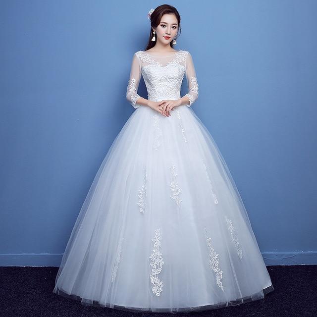 Fashion Lace Up Wedding Dress Bride Ball Gowns Wedding Dresses Half Sleeve Plus Size Princess Dresses Vestidos De Novia 2