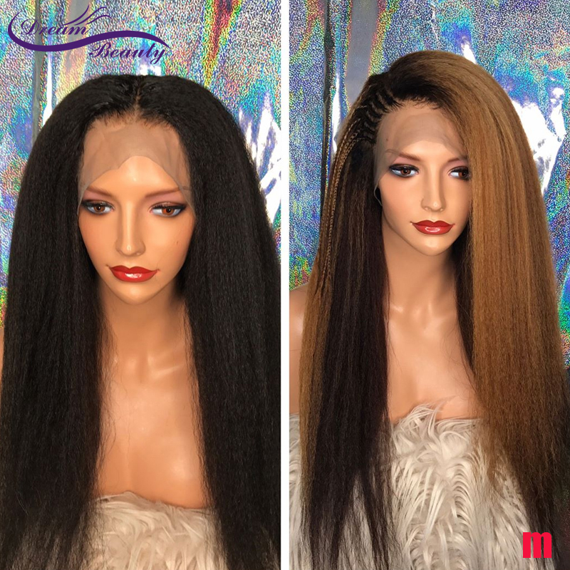 Ombre Blonde Kinky Straight Lace Front Human Hair Wigs Natural Color 150% Brazilian Remy Wig 13X4 Lace Front Wig Dream Beauty