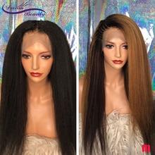 Эффектом деграде (переход от темного к Блондинка Кудрявые прямые Синтетические волосы на кружеве парики из натуральных волос на кружевной ...