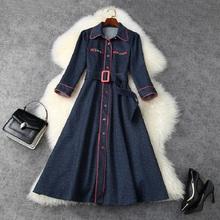 Nowy Superior 2021 jakość na jesień dla dziewczyny sukienka jeansowa kobiety zima Retro długa sukienka na przyjęcie moda Casual główna ulica kowbojskie sukienki tanie tanio JP (pochodzenie) COTTON spandex A-LINE Osób w wieku 18-35 lat HT21126782 Skręcić w dół kołnierz Trzy czwarte REGULAR