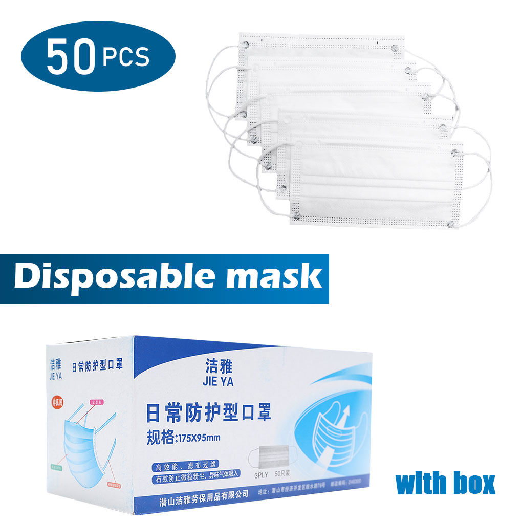 50pcs Disposable Anti Dust Breathable Non-woven Face Mouth Mask Elastic Ear-loops Mask Face Cover White 10/20pcs In Stock