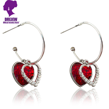 DREJEW Cute Red Blue Gold Love Heart Rhinestone Hoop Earrings Christmas Fashion Alloy Earrings for Women.jpg 350x350 - DREJEW Cute Red Blue Gold Love Heart Rhinestone Hoop Earrings Christmas Fashion Alloy Earrings for Women Wedding Party Jewerly