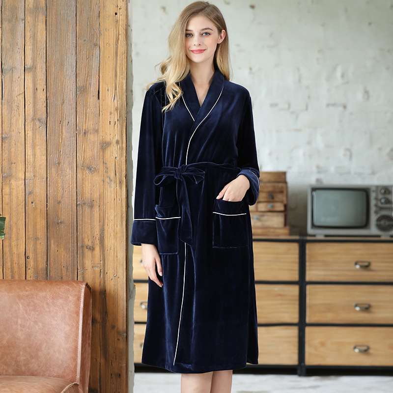 Yao Ting Autumn And Winter New Style Gold Velvet Robe Hot Selling Warm Pajamas Fashion Multi-color Home Wear