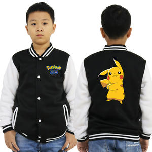 Girl Baseball-Jacket Kids Outerwear Pokemon Boys 10-Years-Old Hoody Spring Casual