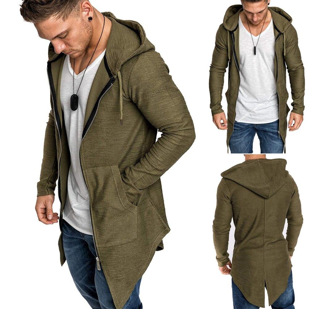 He84bac46219444ada6342d4a1c34d26a1 Men's Warm Hooded Coat Outwear Jumper Winter Trench Zipper Long Sleeve Cloak Male Coat Streetwear