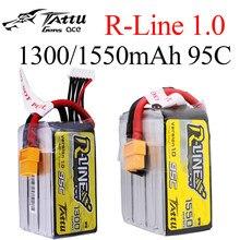 Tattu-Line R 1300/1550mAh 18.5V 22.2V 95C 5S 6S1P Lipo Battery Pack com XT60 plug para RC Drone Quadcopter FPV Corrida