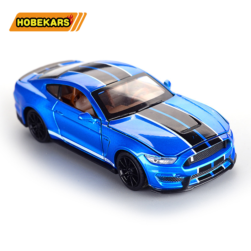 Mustang GT350 1:32 Model Car Diecast Metal Alloy Simulation Pull Back Vehicles Cars Lights Toys For Kids Gifts For Children