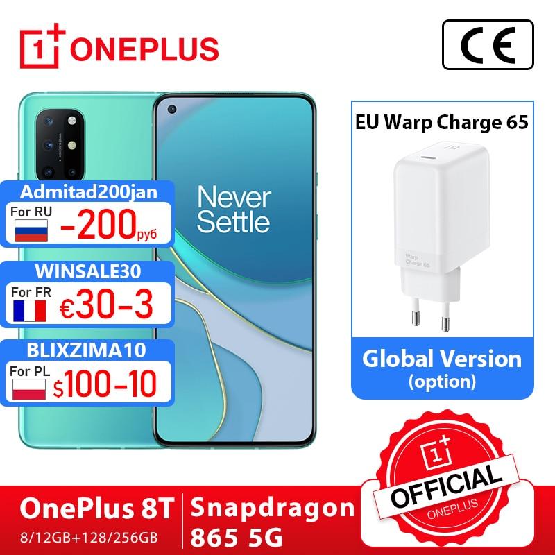 Глобальная прошивка OnePlus 8T, 8 T, OnePlus Official Store, 8 Гб 128 Snapdragon 865 5G смартфон 120 Гц активно-матричные осид жидкости Экран 48MP Quad камеры 4500 мА/ч, 65 Вт Warp; ...