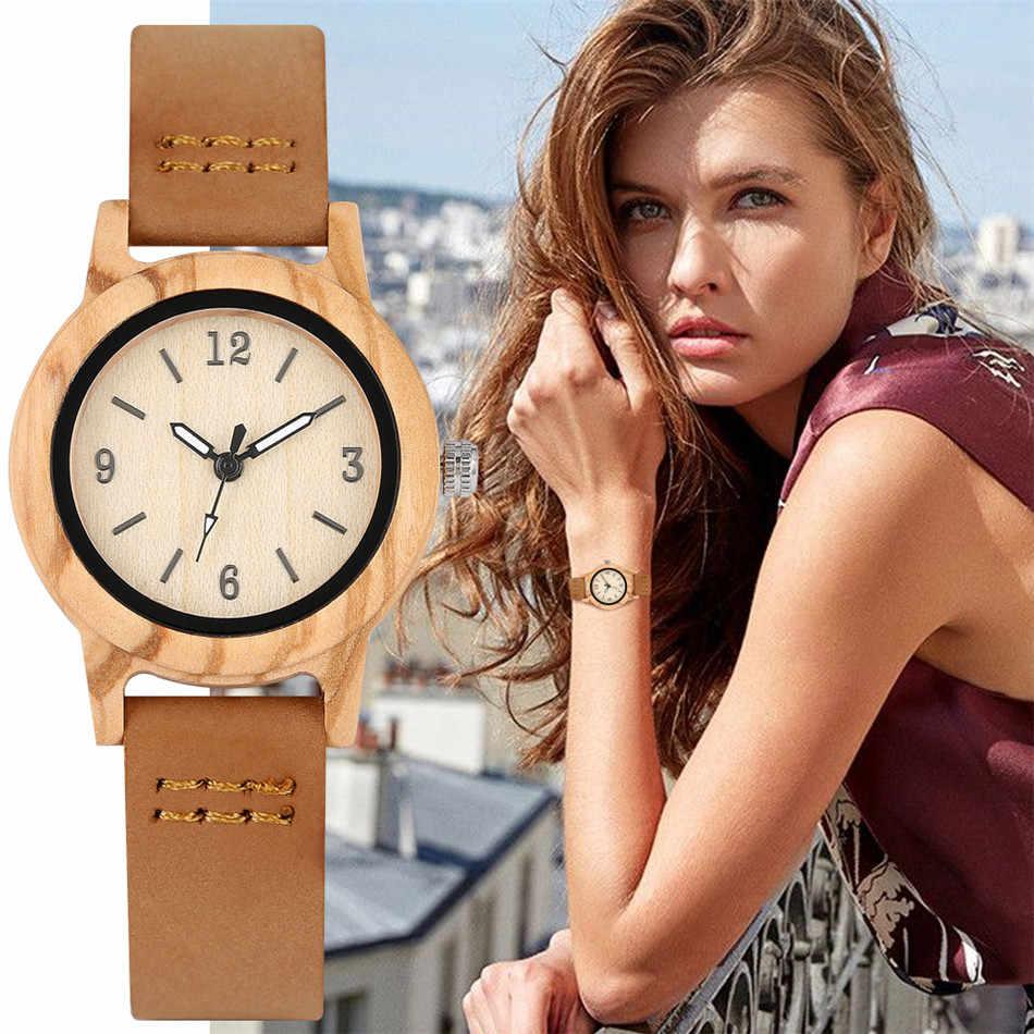 REDFIRE جلد طبيعي القيقب ساعة خشب المرأة موضة ساعة اليد ساعة خشبية طبيعية أنيقة السيدات كوارتز ساعة