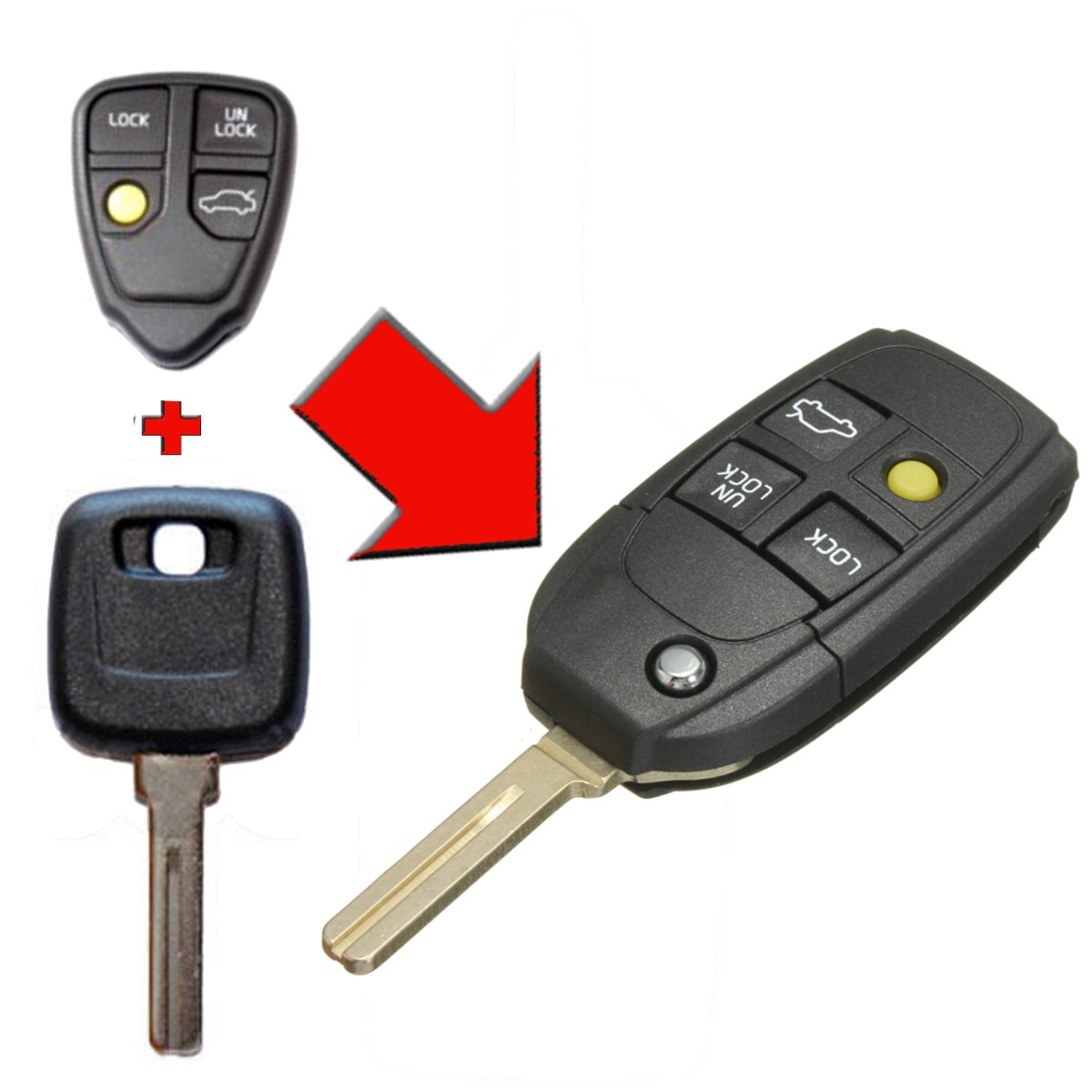Car Remote Key Shell Case Modified Key 2 3 4 Buttons For Volvo XC70 XC90 V40 V50 V70 V90 C30 C70 S40 S60 S70 S80