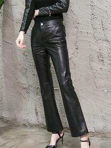 Novmoop Pants Genuine-Leather Sheepskin Spring Office Black Winter Button LT2984 Elastic