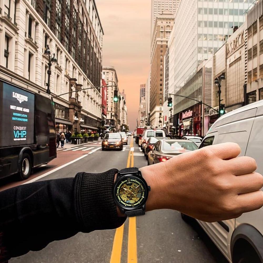 He84be179f9514b7db0cd096b0186ef828 WINNER Official Fashion Casual Men Mechanical Watch Blue Mesh Strap Ultra Thin Skeleton Mens Watches Top Brand Luxury Clock 2019