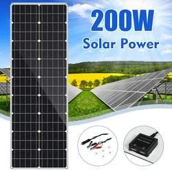 LEORY 18 فولت لوحة طاقة شمسية 200 واط مرنة ألواح شمسية أحادية السيليكون لركوب الدراجات في الهواء الطلق تسلق التنزه التخييم الشمسية الخليط