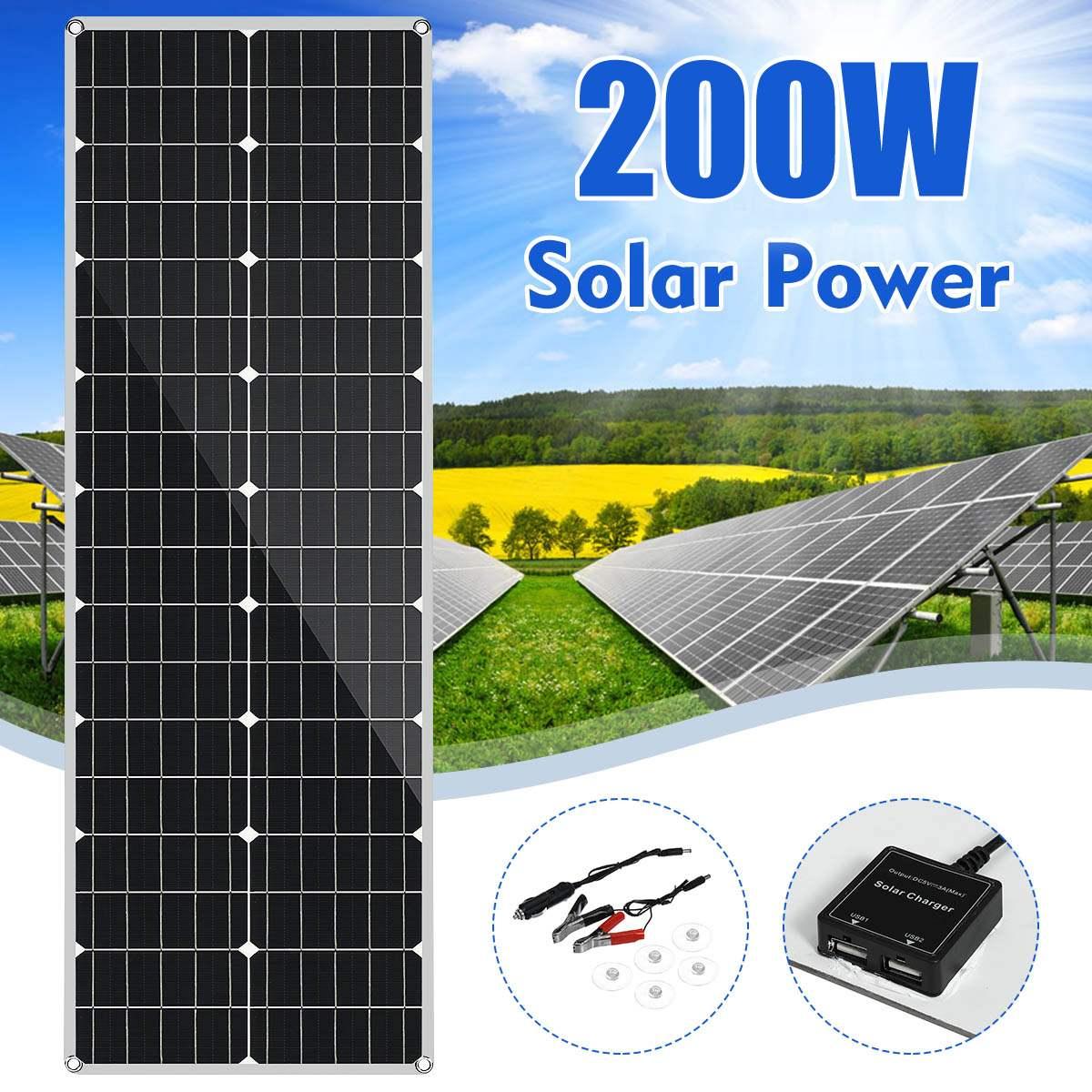 LEORY 18V panneau solaire 200W Flexible monocristallin silicium panneau solaire pour plein air cyclisme escalade randonnée Camping batterie solaire
