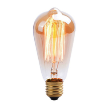ST64 Straight Wire Edison Retro Tungsten Light Bulb 220V 40W E27 Tungsten Wire Incandescent Lamp Christmas Retro Decorative Bulb