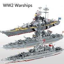 WW2ทหารเรือรบSeries Building Blocksเรือรบรุ่นWW2ทหารทหารอาวุธของเล่น