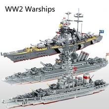 WW2軍事軍艦シリーズビルディングブロック戦艦モデルWW2軍事兵士の武器のおもちゃ
