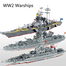 WW2 navires de guerre militaires série blocs de construction cuirassé modèle WW2 militaire soldat arme jouets