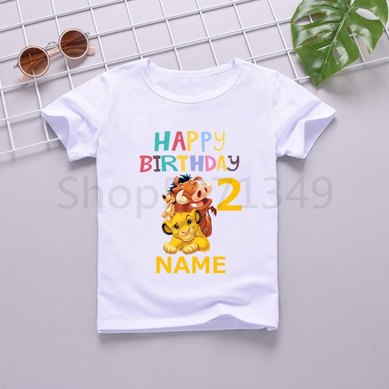 Children Lion King Birthday Number 1-10 Cartoon Print T-shirt Boys Girls Cute Simba Funny T Shirt Kids Clothes