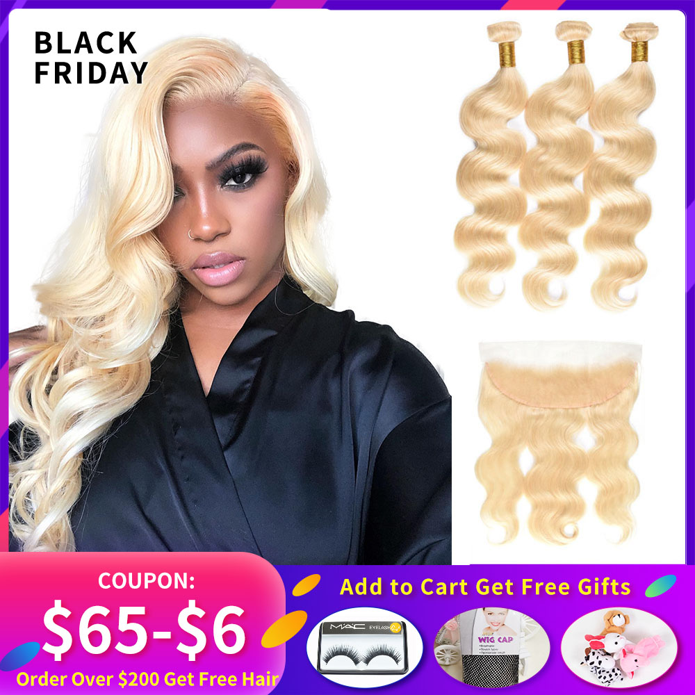613 Honey Blonde 3 Bundles With Frontal Closure Peruvian Body Wave Hair Weave 613 Bundles With Frontal 13x4 Closure Remy Hair