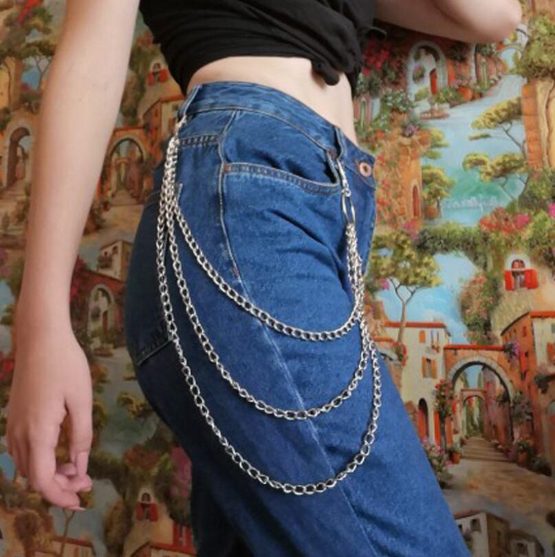 Women Pants Accessories 1-3 Layer Rock Punk Hook Trouser Pants Waist Link Belts Metal Wallet Silver Chain Hip Hop Chain Belts