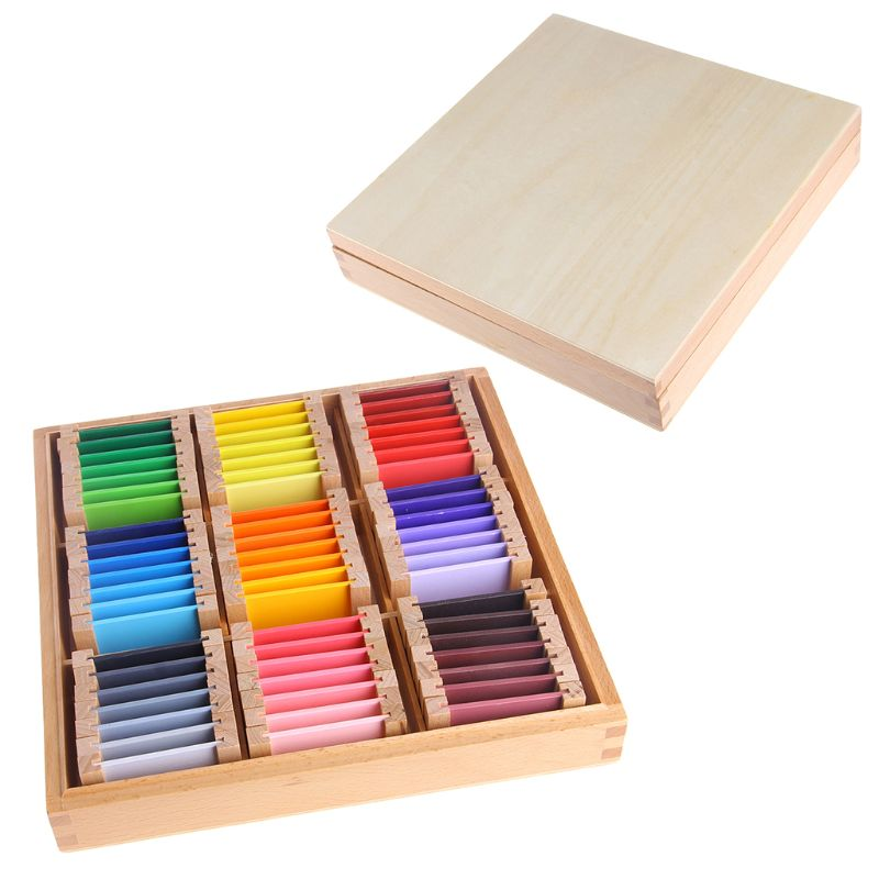 Montessori Sensorial Material Learning Color Tablet Box Wood Preschool Toy Y4UD
