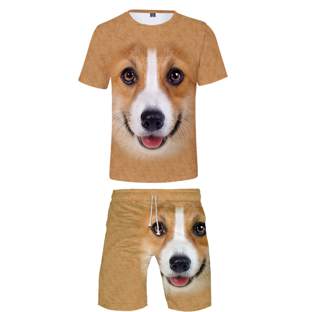 New 3D Animal T-shirt + Beach Shorts Male / Female Hip Hop Summer Casual 3D Dog Print Boy / Girl Two-piece Fashion Cool