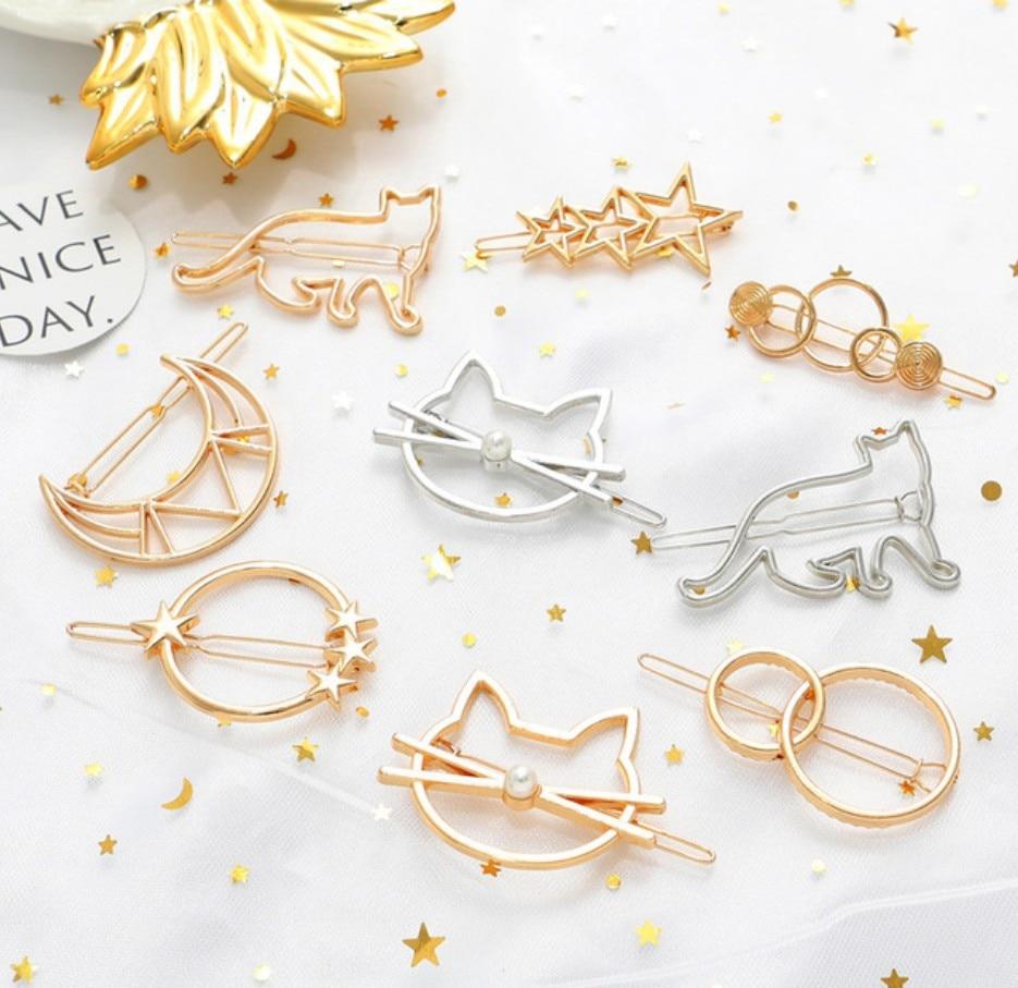 Fashion Woman  Hair Accessories Triangle Moon HairPins Gold Silver Geometric Hair Clip Pins Alloy Hairband Star Circle Hair Grip