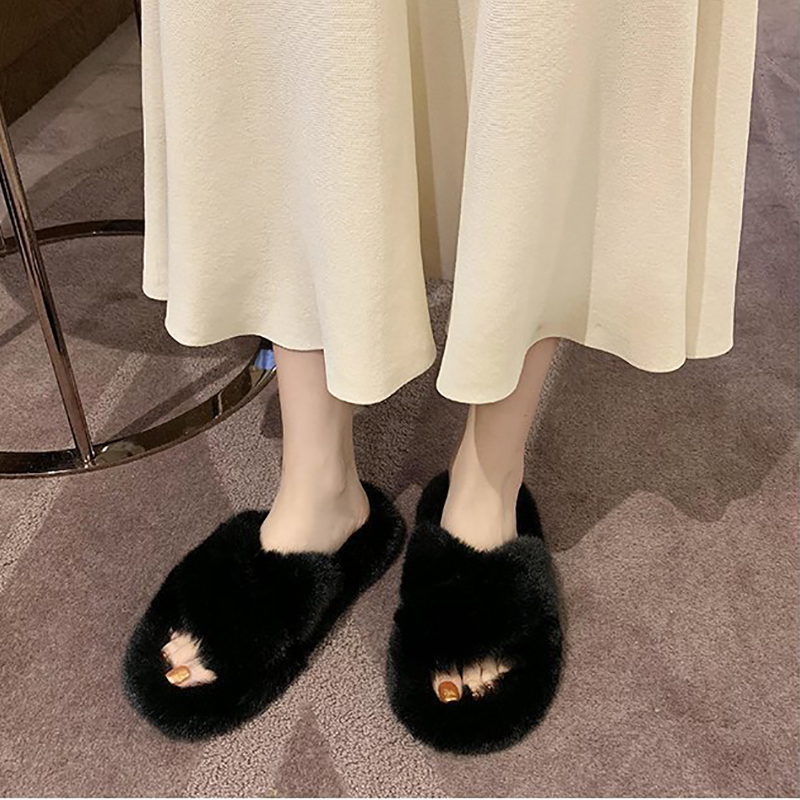 Women Slippers Pink Winter Warm Soft Fluffy Plush House Slides Shoes For Home Fashion Non Slip Flat Fur Women Bedroom Slippers