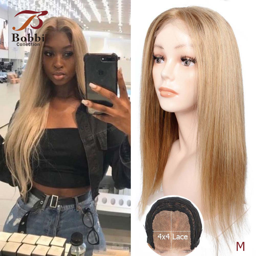 BOBBICOLLECTION 4x4 Lace Closure Human Hair Wig Ombre Honey Blonde Pre-Plucked 150% Density Straight Brazilian Non-Remy Hair