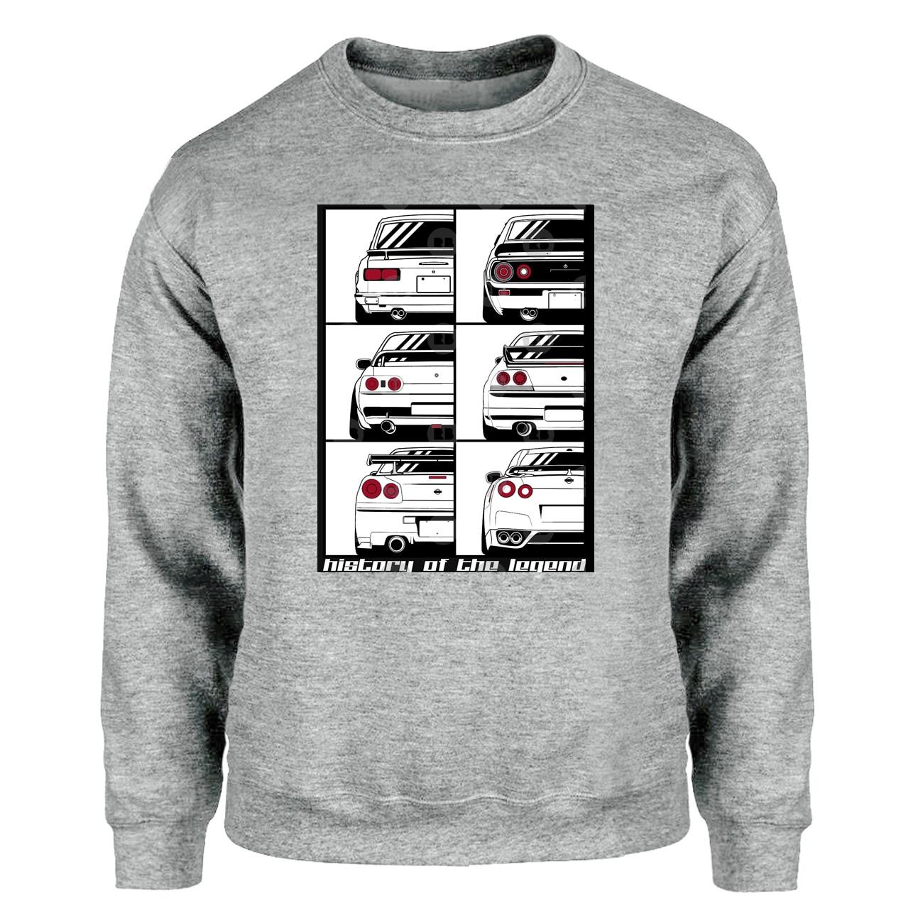 Novelty GTR Car Sweatshirt Men Cartoon Funny Skyline Graphic Crewneck Sweatshirts Hoodies Warm Streetwear Harajuku Sportswear