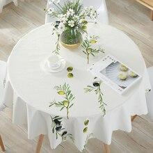 Yeşil yaprak baskılı yuvarlak masa örtüsü su geçirmez masa örtüsü ev yemek masası kapağı mutfak odası yağa dayanıklı yıkanabilir
