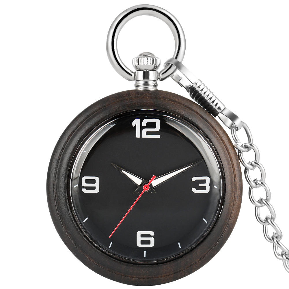 Ebony Large Pocket Watches For Men Necklace Concise Woooden Dial Alloy Rough Chain Women Pendant Watch Classic Relogio De Bolso