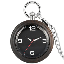 Ebony Large Pocket Watches For Men Necklace Concise Woooden Dial Alloy Rough Chain Women Pendant Watch Classic relogio de bolso hot fashion movie theme star trek golden pocket watch pendant necklace quartz watch men women relogio de bolso p1180
