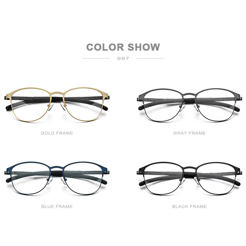 Image 4 - FONEX Silicone Alloy Optical Eye Glasses Frames for Women Round Myopia Prescription Eyeglasses Men 2020 Screwless Eyewear 987Mens Eyewear Frames   -