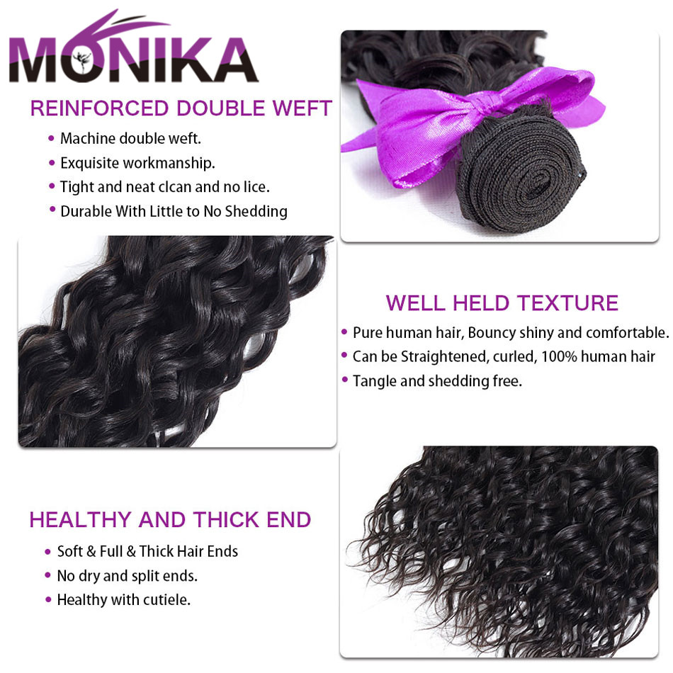 Monika Peruvian Hair with Closure Water Wave Bundles With Closure Wet and Wavy Non Remy Human Hair Weave 3 Bundles with Closure