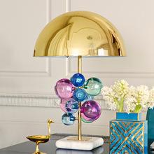 Nocne czytanie pokoju kształt kuli kolorowa kryształowa lampa stołowa na oświetlenie sypialni Art Deco Home lampka na biurko tanie tanio Lux vitae CN (pochodzenie) Łóżko pokój WHITE Dół table lamp Klin Ue wtyczka 90-260 v Pokrętło przełącznika Żarówki led