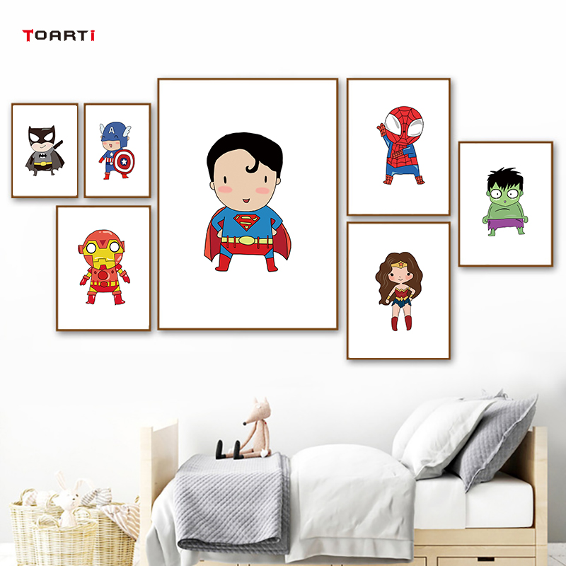 Superhero Captain America Print And Poster Movie Batman Wall Art Canvas Painting For Kids Boys Room Home Decor Marvel Avengers