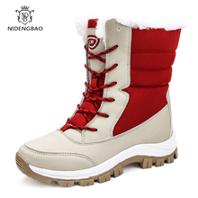 Waterproof Snow Boots Womens Shoes With Fur Winter Warm Flats Ankle Botas Anti-slip Female Sneakers Zapatos Mujer Big Size 42