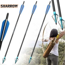 6pcs Carbon Arrow 18/20/22 inch Blue Bladehead Crossbow Arrows Mix Steel fixed Outdoor Traditional Bow Sports